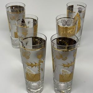Other - Vintage MCM Tumbler Glasses Frosted Butterfly